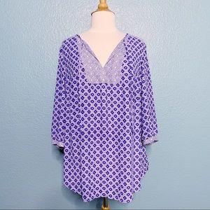 NYDJ   Tie Neck Boho Graphic 3/4 Sleeve Blouse